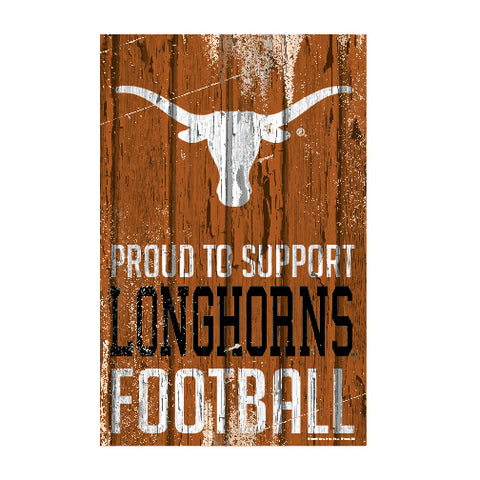 Texas Longhorns Sign 11x17 Wood Proud to Support Design