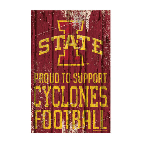 Iowa State Cyclones Sign 11x17 Wood Proud to Support Design