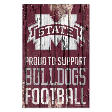 Mississippi State Bulldogs Sign 11x17 Wood Proud to Support Design - Special Order