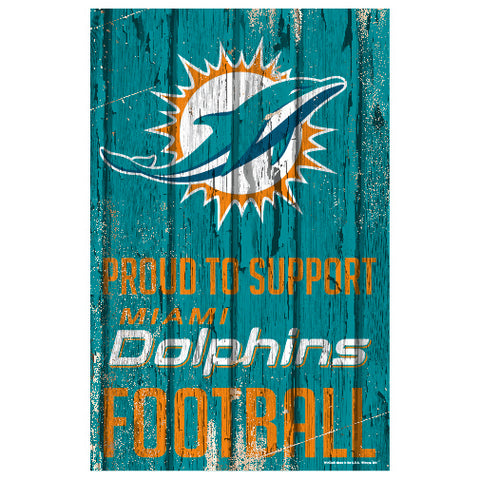 Miami Dolphins Sign 11x17 Wood Proud to Support Design