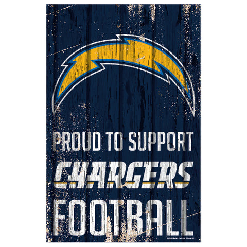 Los Angeles Chargers Sign 11x17 Wood Proud to Support Design