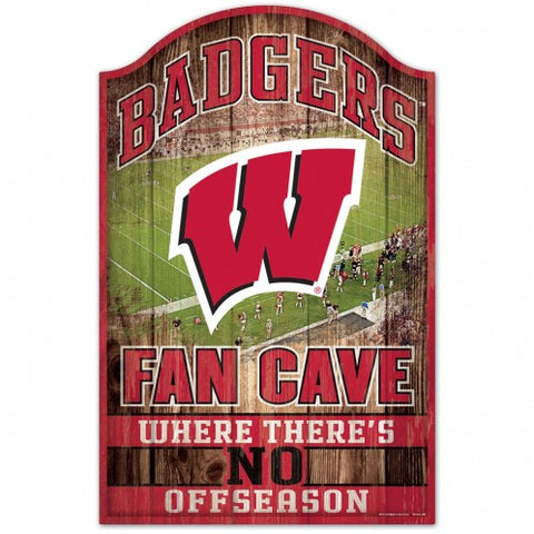 Wisconsin Badgers Sign 11x17 Wood Fan Cave Design