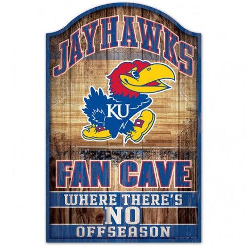 Kansas Jayhawks Sign 11x17 Wood Fan Cave Design - Special Order