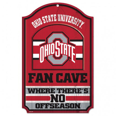 "Ohio State Buckeyes Wood Sign - 11""x17"" Fan Cave Design"