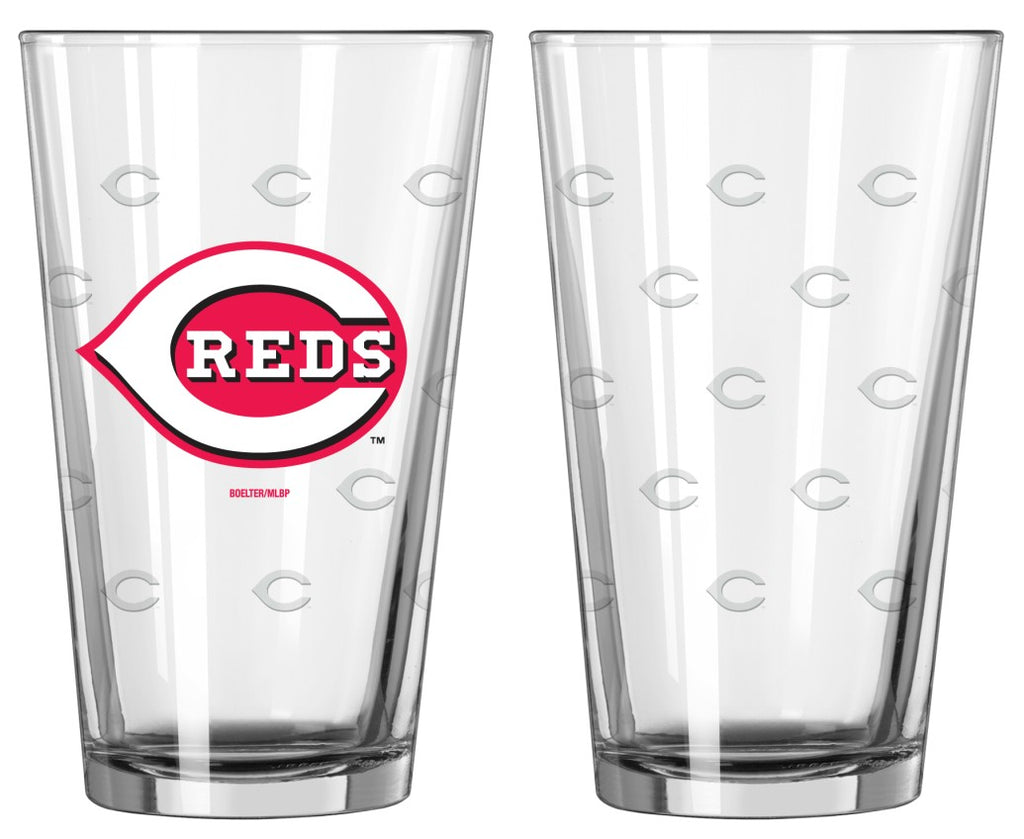 Cincinnati Reds Satin Etch Pint Glass Set