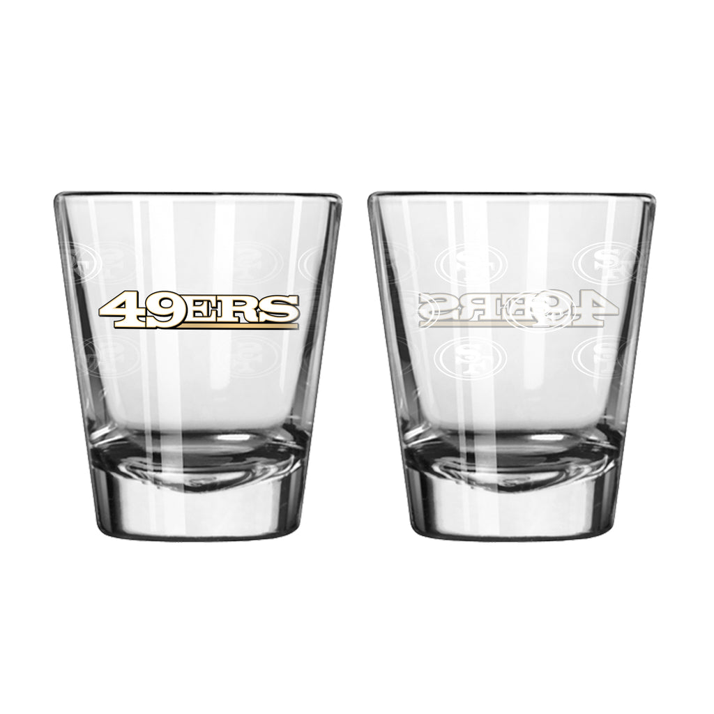 San Francisco 49ers Shot Glass - 2 Pack Satin Etch - New UPC