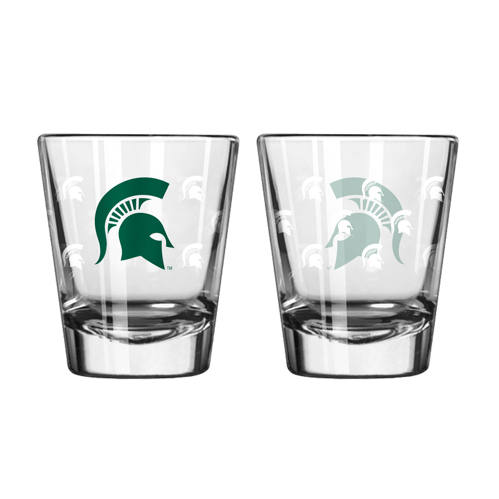 Michigan State Spartans Shot Glass - 2 Pack Satin Etch