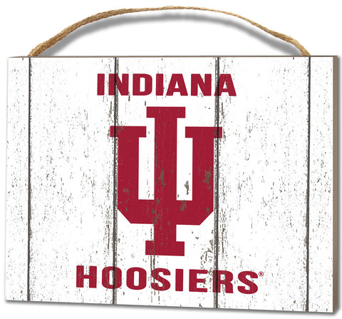 Indiana Hoosiers Small Plaque - Weathered Logo