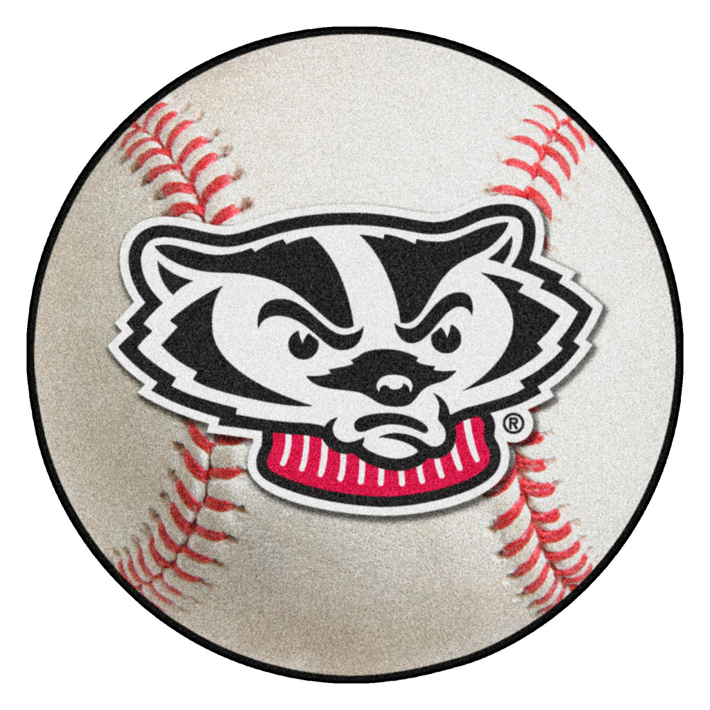 "University of Wisconsin Baseball Mat 27"" diameter"