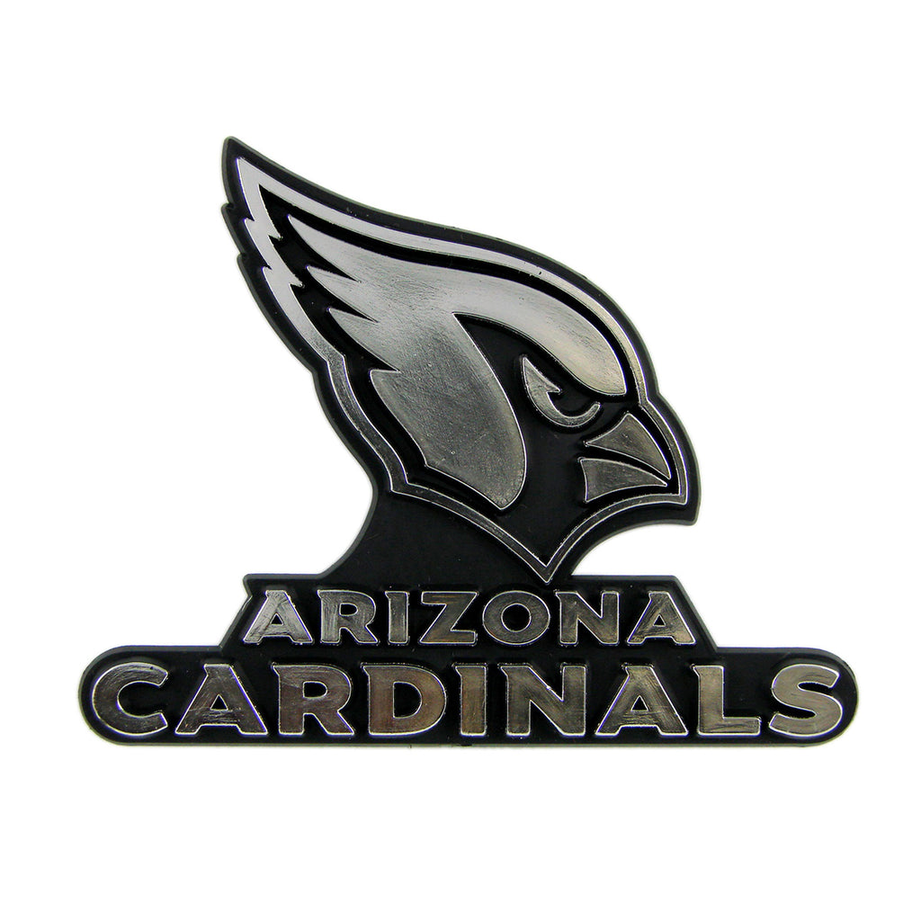 "NFL - Arizona Cardinals Molded Chrome Emblem 3.25"" x 3.25""- ""Cardinal Head"" Primary Logo & Wordmark"