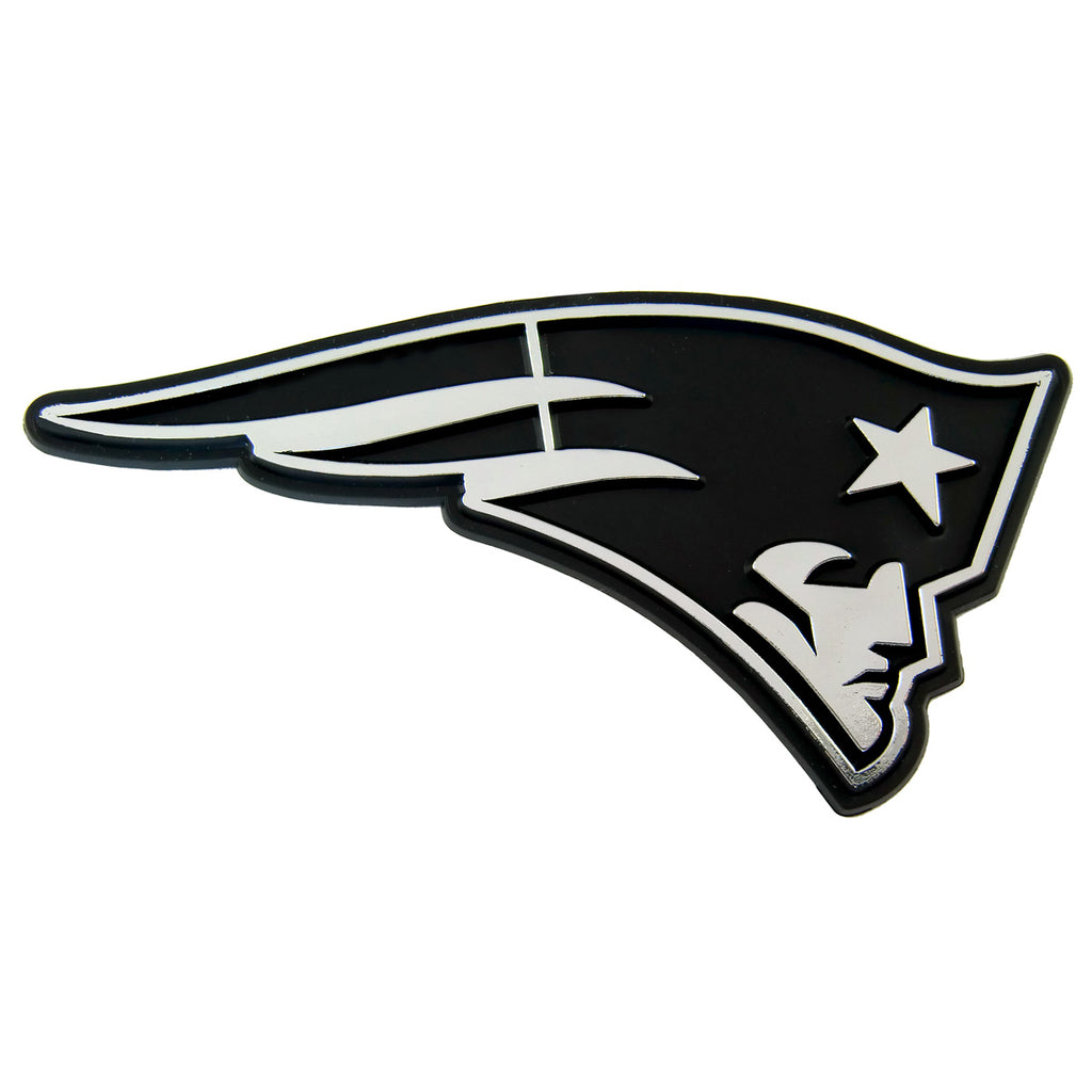 "NFL - New England Patriots Molded Chrome Emblem 3.25"" x 3.25""- ""Patriot Head"" Primary Logo"