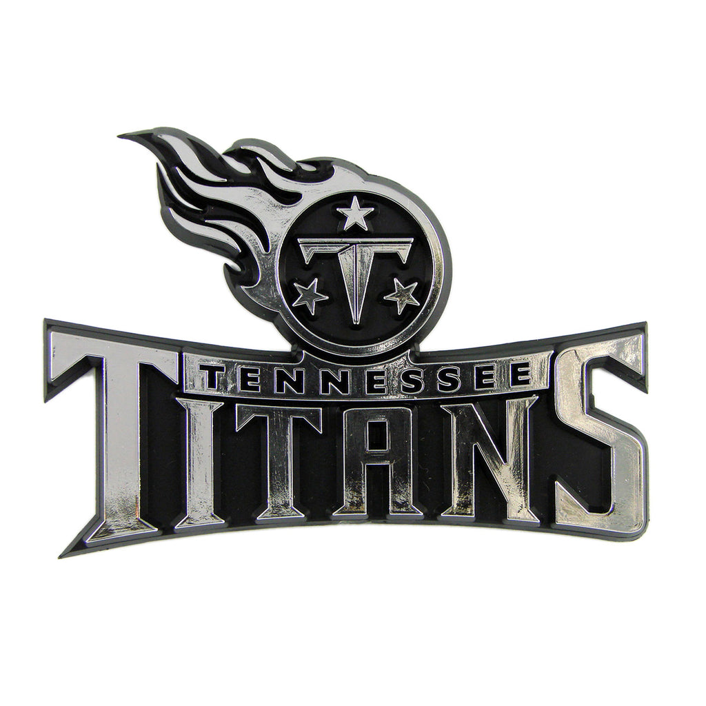 "NFL - Tennessee Titans Molded Chrome Emblem 3.25"" x 3.25""- ""Titans Comet"" Primary Logo & Wordmark"
