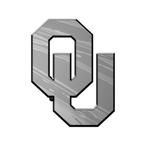"University of Oklahoma Molded Chrome Emblem 3.25"" x 3.25 - ""OU"" Logo"