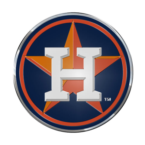 "MLB - Houston Astros Embossed Color Emblem 3.25"" x 3.25"" - ""Circular H & Star"" Primary Logo"