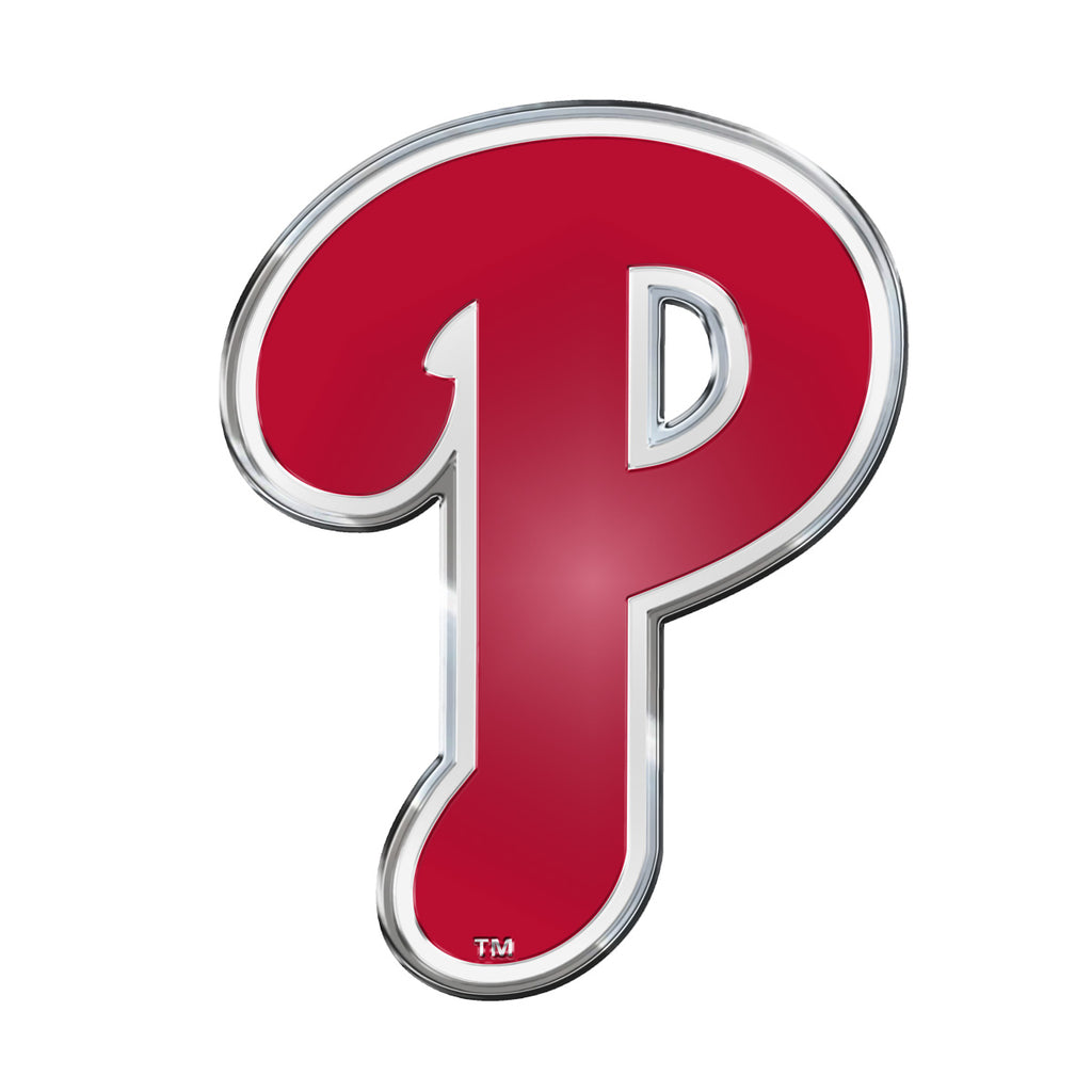 "MLB - Philadelphia Phillies Embossed Color Emblem 3.25"" x 3.25"" - ""P"" Alternate Logo"