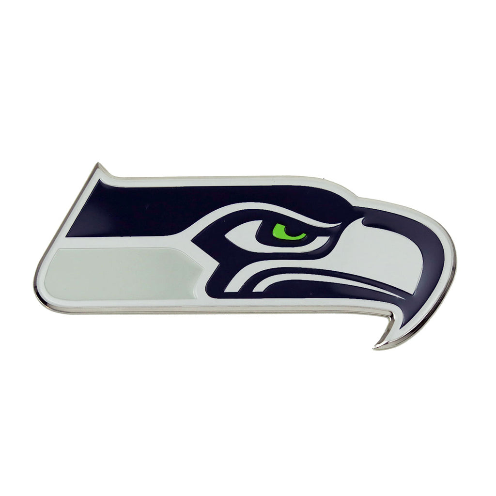 "NFL - Seattle Seahawks Embossed Color Emblem 3.25"" x 3.25"" - ""Seahawk"" Logo"
