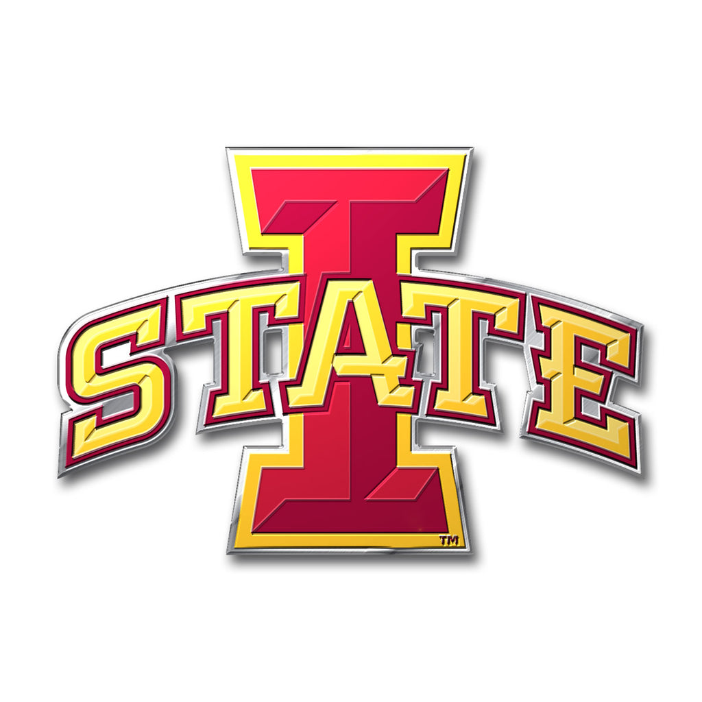 "Iowa State University Embossed Color Emblem 3.25"" x 3.25"" - ""I State'"" Logo"