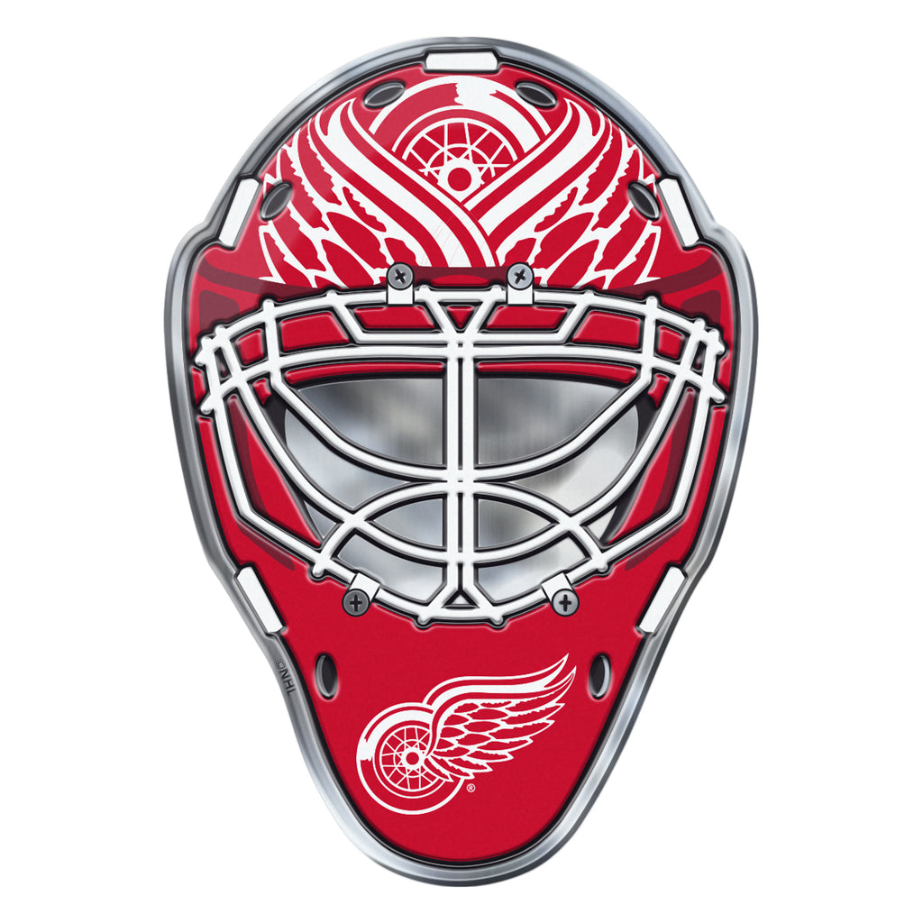 "NHL - Detroit Red Wings Embossed Helmet Emblem 3.25"" x 3.25""- Hockey Mask with Primary Logo"