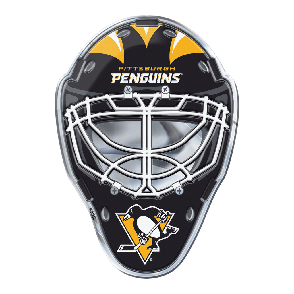"NHL - Pittsburgh Penguins Embossed Helmet Emblem 3.25"" x 3.25""- Hockey Mask with Primary Logo"