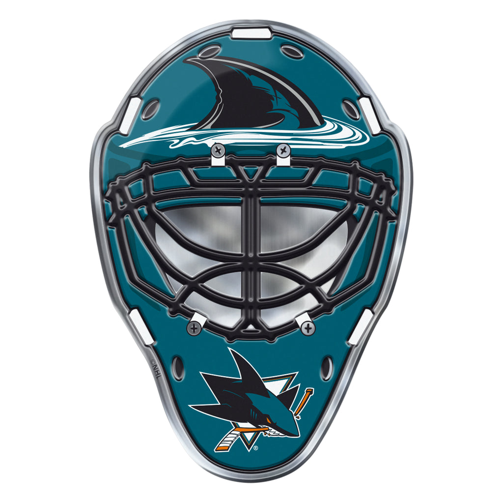 "NHL - San Jose Sharks Embossed Helmet Emblem 3.25"" x 3.25""- Hockey Mask with Primary Logo"