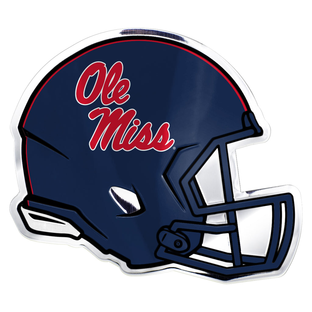 "University of Mississippi (Ole Miss) Embossed Helmet Emblem 3.25"" x 3.25""- ""Ole Miss"" Script Logo"