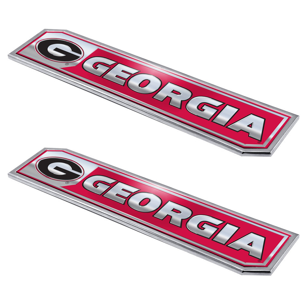 "University of Georgia Embossed Truck Emblem 2-pk 1.75"" x 8.25"" - Primary Logo & Wordmark"