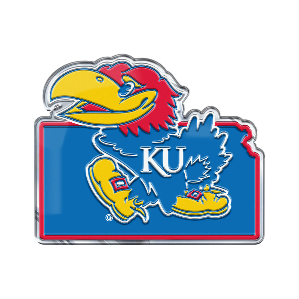 "University of Kansas Embossed State Emblem 3.25"" x 3.25""- ""Jayhawk"" Logo / Shape of Kansas"