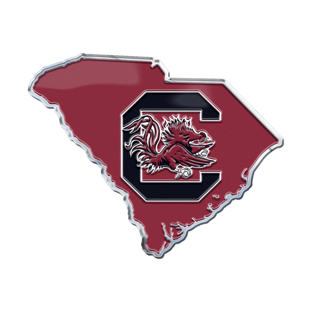 "University of South Carolina Embossed State Emblem 3.25"" x 3.25""- ""C and Gamecock"" Primary Logo / Shape of South Carolina"