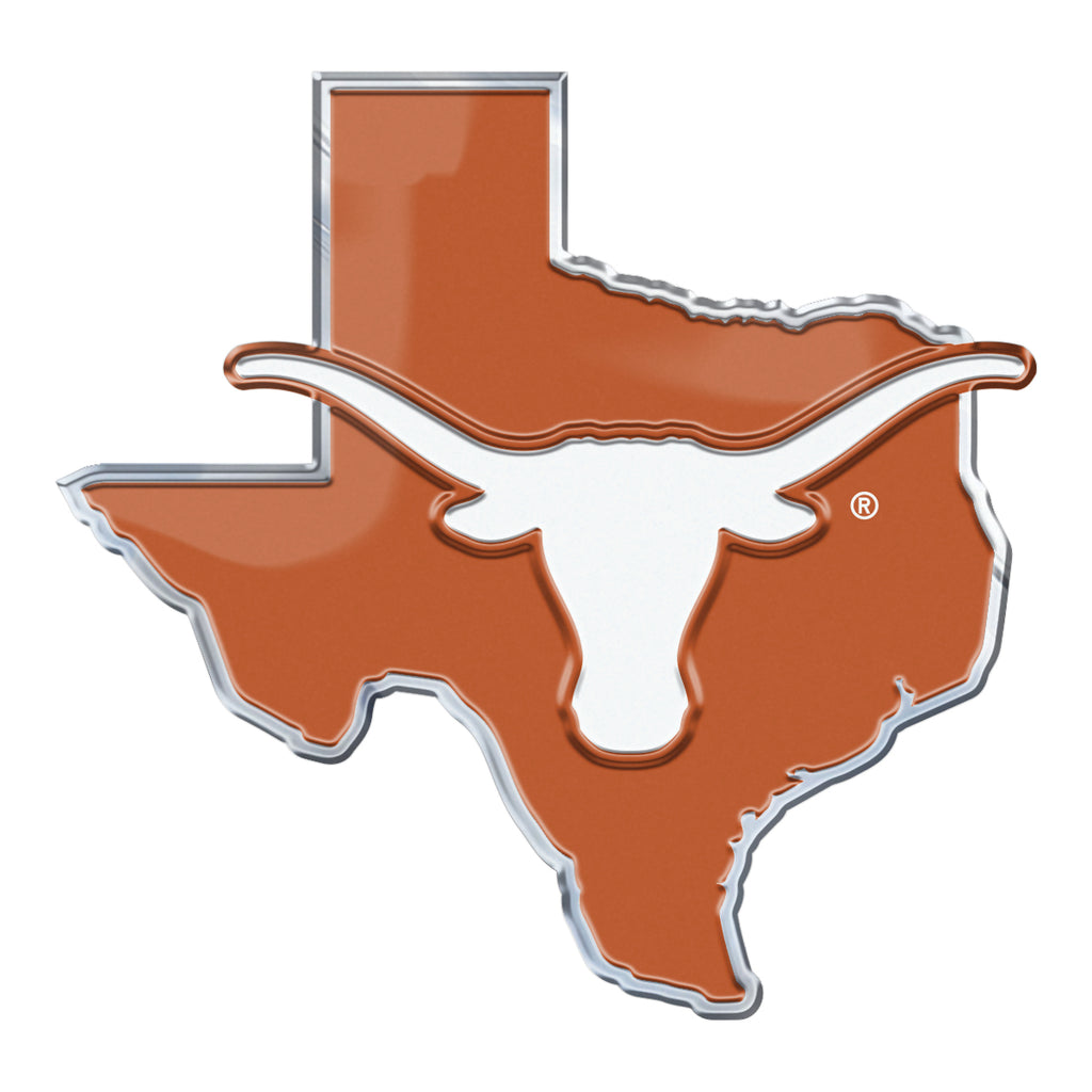 "University of Texas Embossed State Emblem 3.25"" x 3.25""- ""Longhorn"" Primary Logo / Shape of Texas"