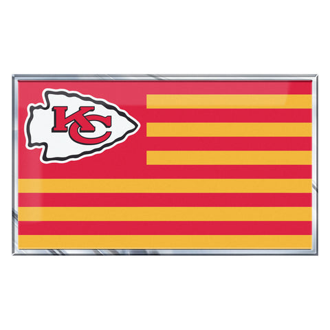 "NFL - Kansas City Chiefs Embossed State Flag Emblem 2"" x 3.5"" - Primary Team Logo on State Flag Design"
