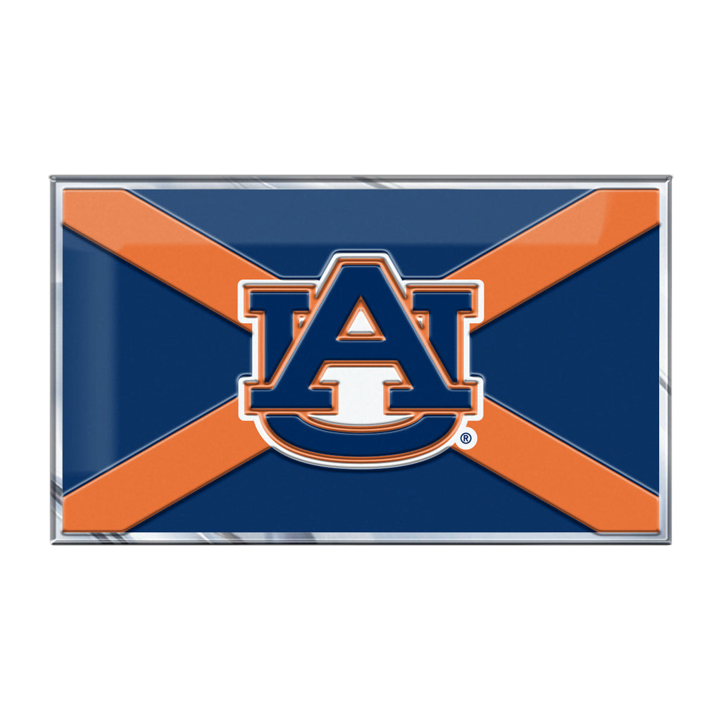 "Auburn University Embossed State Flag Emblem 2"" x 3.5"" - Primary Team Logo on State Flag Design"