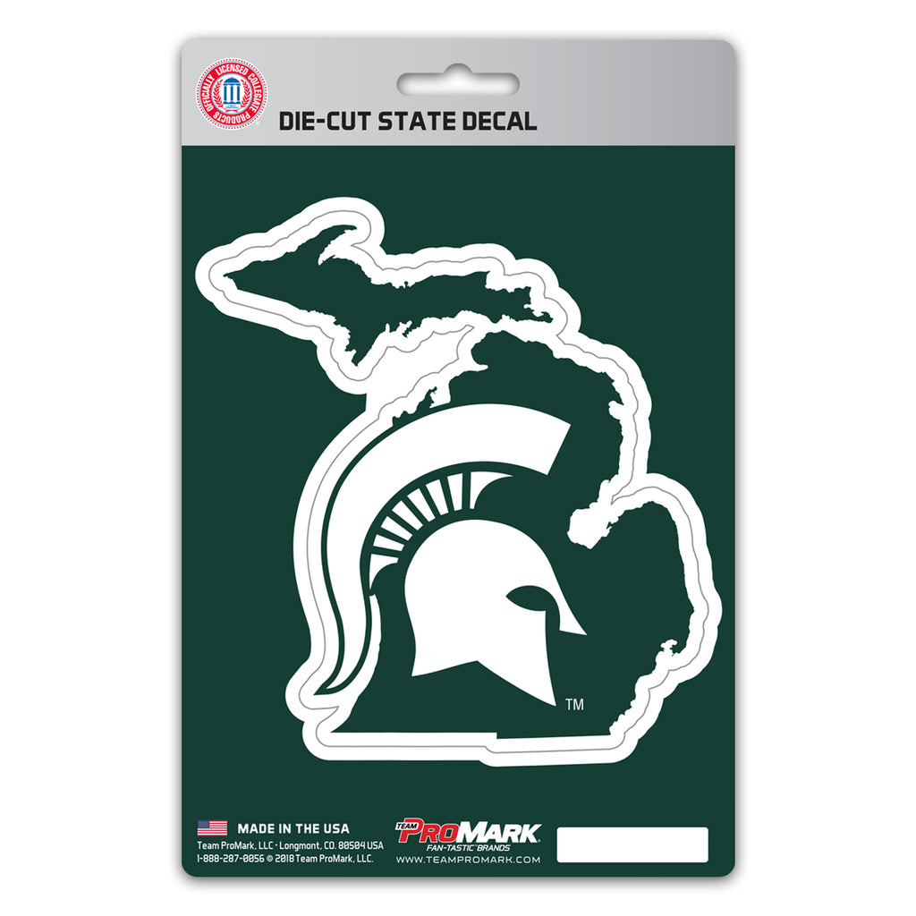 "Michigan State University State Shape Decal 5"" x 6.25"" - ""Spartan Helmet"" Logo / Shape of Michigan"