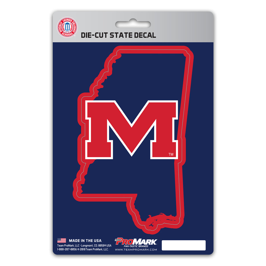 "University of Mississippi (Ole Miss) State Shape Decal 5"" x 6.25"" - ""M"" Alternate Logo / State of Mississippi"