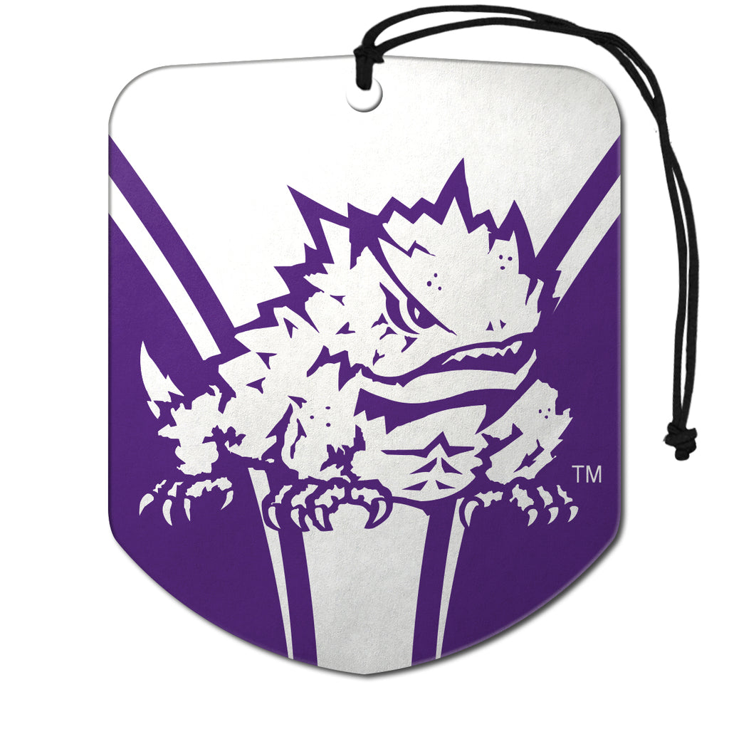 "Texas Christian University Air Freshener 2-pk 2.75"" x 3.5"" - ""Horned Frog"" Logo & Wordmark"