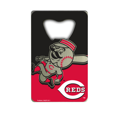 "MLB - Cincinnati Reds Credit Card Bottle Opener 2"" x 3.25 - Primary and Alternate Logo"