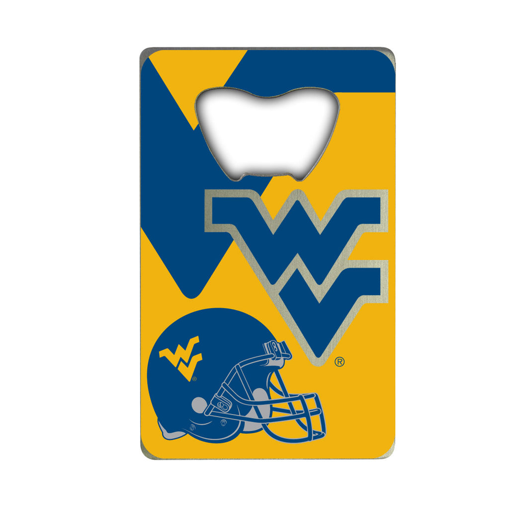 "West Virginia University Credit Card Bottle Opener 2"" x 3.25 - ""WV"" Primary Logo & Helmet"