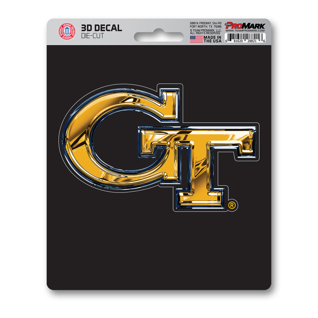 "Georgia Tech 3D Decal 5"" x 6.25"" - ""GT"" Logo"