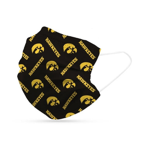 Iowa Hawkeyes Face Mask Disposable 6 Pack