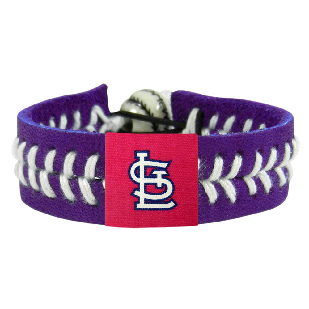 "St. Louis Cardinals Baseball Bracelet - Red Band, White Stiches ""StL"" Logo"""
