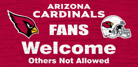 Arizona Cardinals Wood Sign Fans Welcome 12x6
