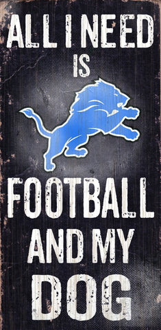 "Detroit Lions Wood Sign - Football and Dog 6""x12"""