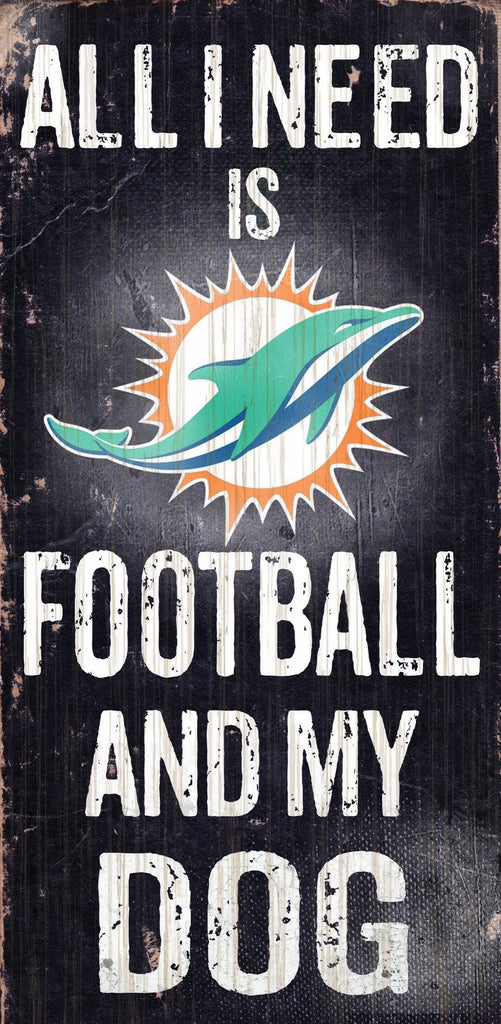 "Miami Dolphins Wood Sign - Football and Dog 6""x12"""