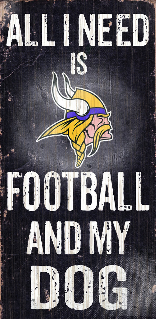 "Minnesota Vikings Wood Sign - Football and Dog 6""x12"""