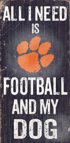 "Clemson Tigers Wood Sign - Football and Dog 6""x12"""