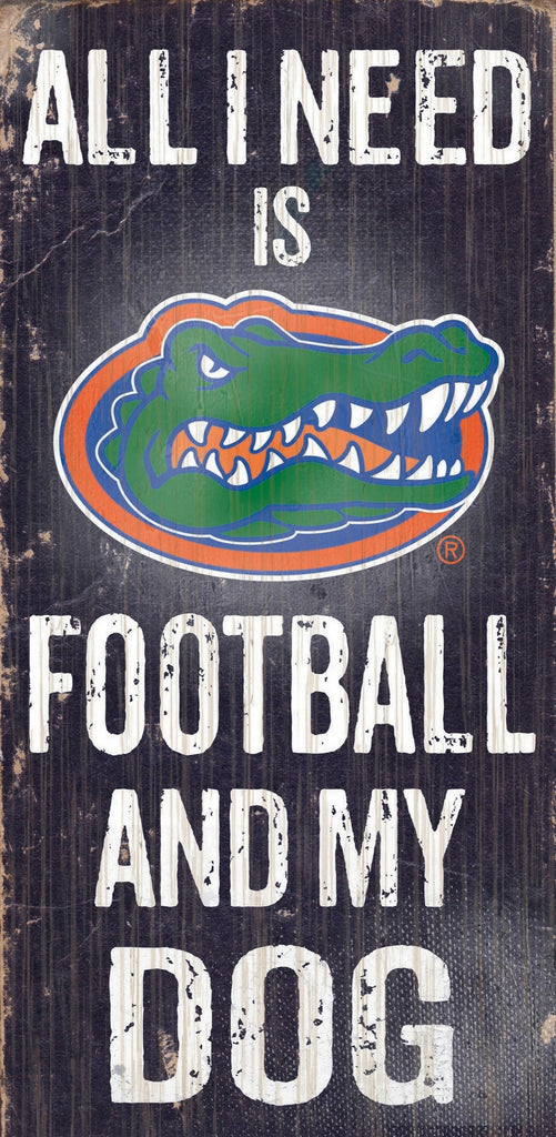 "Florida Gators Wood Sign - Football and Dog 6""x12"""