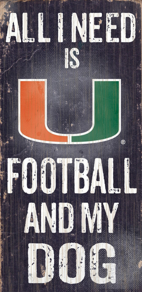 "Miami Hurricanes Wood Sign - Football and Dog 6""x12"""