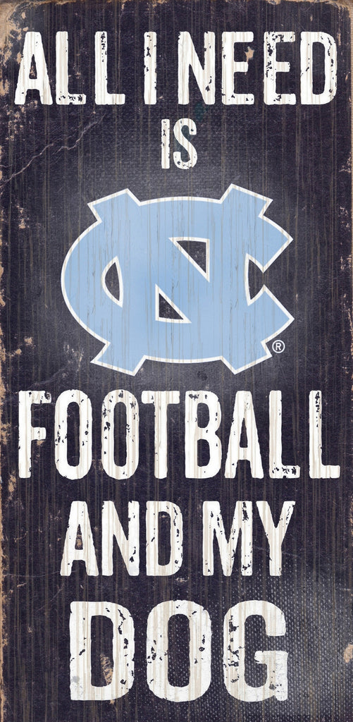 "North Carolina Tar Heels Wood Sign - Football and Dog 6""x12"" - Special Order"