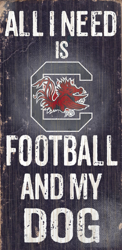"South Carolina Gamecocks Wood Sign - Football and Dog 6""x12"" - Special Order"