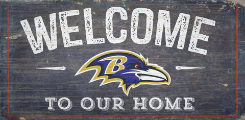 Baltimore Ravens Sign Wood 6x12 Welcome To Our Home Design - Special Order