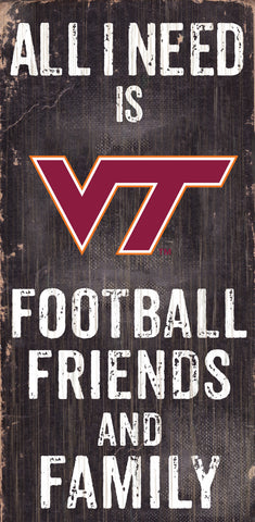 Virginia Tech Hokies Sign Wood 6x12 Football Friends and Family Design Black